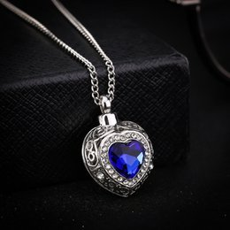 d684a7e02 Free Shipping Accessories Wholesale personality ocean heart blue Gemstone  love urn necklace heart-shaped pendant X813