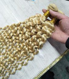 2019 lula cabello humano Paquetes de cabello rubio Ofertas Deep Wave # 613 Honey Remy Human Hair teje extensiones de cabello rubio 3 paquetes Envío gratis