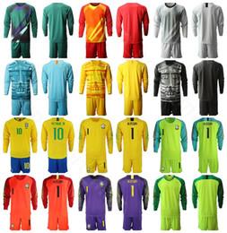 Бразильская желтая майка онлайн-Мужчины Бразилия вратарь с длинным рукавом Футбол 1 Алиссон Джерси набор 23 Эдерсон 9 Габриэль Иисус желтый фиолетовый футбол рубашка комплекты на заказ имя