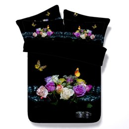 Capas de edredon de borboleta king size on-line-3d flores borboleta lilycolors rose full / queen / super king size capa de edredão set 100% algodão cama sem enchimento frete grátis
