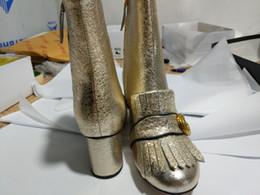 Botas de salto alto com franjas on-line-Botas de franjas de inverno Sapatos de salto alto de couro estilo britânico Botas de locomotiva na moda botas de salto alto