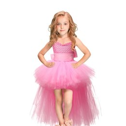 ribbons bows for skirts Coupons - Tutu Pink Tulle Baby Girls Dress Skirts Kids Princess Handmade Mesh TUTU Dresses With Ribbons Bow For Birthday Wedding Party