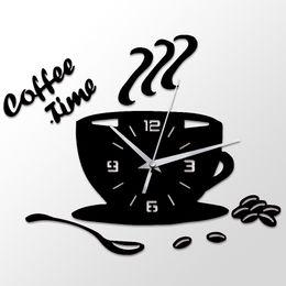 2019 copos de café do relógio de parede 3d diy acrílico relógio de parede de cozinha moderna home decor relógio de tempo do café copo forma adesivo de parede oco numeral relógio copos de café do relógio de parede barato