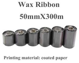 2 Rollo / Lote DRVXIN Cinta de transferencia Térmica Etiqueta de cinta Impresora 50mmX300m Negro Para Impresora de código de barras ZT220 Papel recubierto Imprimir desde fabricantes