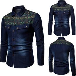 Sudadera etnica online-Hombres 'étnico otoño invierno vintage apenado Demin chaqueta Tops abrigo de gran tamaño sudaderas algodón de gran tamaño Outwear masculino