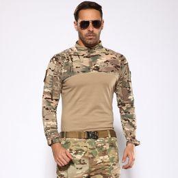 2019 impressão de vidro barato Xangai História Camuflagem Camisa Tática Fãs Do Exército Treinamento de Campo Tshirt Uniforme Roupas Caça Ao Ar Livre Camping Caminhadas Camisa