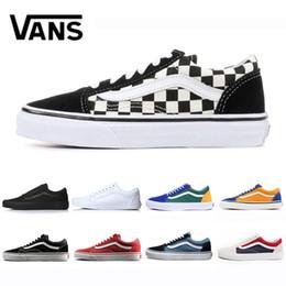 Mens scarpe tela online-2019 Vans Flames Original old skool Scarpe da corsa nero blu rosso Classic mens donna sneakers di tela moda Cool Skateboard scarpe casual 36-44