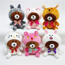 line friends Coupons - Line Friends Brown Bear Plush Toy Dinosaurus Tijger Hond Giraffe Roze Varken Dressing Cosplay Bear Stuffed Animals kids toys christmas gifts