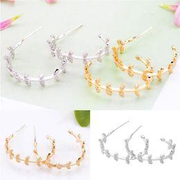 laranja pingente de acrílico Desconto 5 par de moda pequenas folhas brincos de argola para as mulheres sliver cor de ouro geometria super flash strass jóias