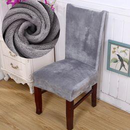 Sedie ufficio sedie online-Copertura di sede solido Colore Grigio Tessuto della peluche della sedia della copertura velluto spesso per Dinning Room Wedding Banquet Ufficio sedia Slipcovers