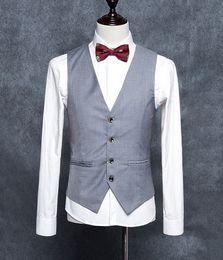 homens cinzentos claros da veste formal Desconto Luz Cinza Blazer Formal Dos Homens de Alta Qualidade Coletes Slim Fit Vestido de Negócios Terno Sem Mangas Colete Homens Formais Coletes
