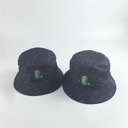 2019 boonie sombreros verde Alien Gypsophila Bucketc Sombrero de pescador Gorro de doble cara Gorro para hombres y mujeres Gorros Algodón Negro Prueba Ultravioleta 13 5lq C1