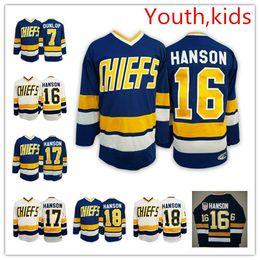Camisola do hóquei chefes on-line-Juventude Tiro de batida Hanson irmãos Hockey Jerseys crianças # 7 Reggie DUNLOP # 17 Steve Hanson # 16 Jack HANSON Charlestown Chiefs Jersey S-XL