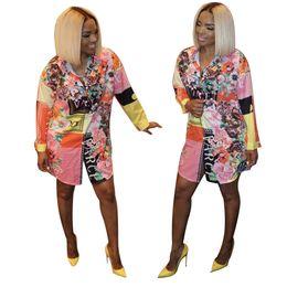 modelos de blusas de pescoço Desconto J1747 Roupas Femininas Expert Plataforma Flor Cor Camisa Saia