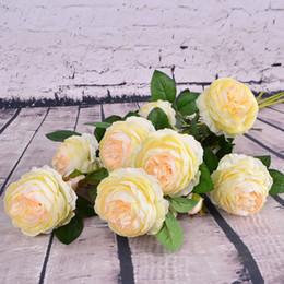 Argentina Decoración para el hogar Hermoso Color Rosa Peonía Flores de Seda Artificial DIY Ramo Fiesta Primavera Decoración de la boda Matrimonio Flor Falsa DH0915-3 T03 Suministro