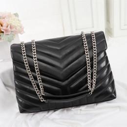 grandes bolsos de piel sintética Rebajas bolsos de diseño de lujo LOULOU en forma de Y de cuero real bandolera cadena de bolsas de las mujeres acolchado de alta calidad bolso de la aleta de múltiples colores para Choo