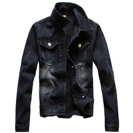 Grandi auto nere online-Shanghai Story giacca vintage autunno uomo manica lunga denim nero lavaggio giacca da uomo maxi taglia S-4XL auto-styling giacca uomo denim grande formato