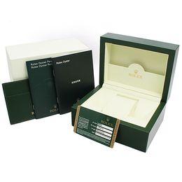 Мужские для rolex внутренний внешний оригинальный деревянный футляр часы коробки документы сертификационные документы карты ручной перевод бумажник часы от