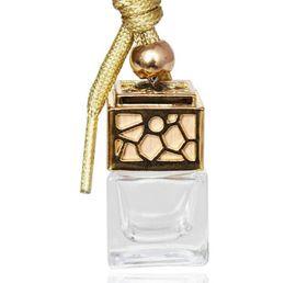 Frascos para perfumes on-line-Garrafa de perfume Cubo Carro Pendurado Ornamento Perfume Ambientador Óleos Essenciais Difusor Fragrância Garrafa de Vidro Vazio 5 ml GGA1480