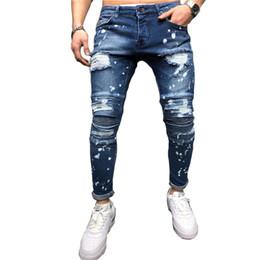 pantalones vaqueros Rebajas Nuevo Hip hop Hombres Salpicaduras de tinta Rodilla delgada Plisado Ripped Flaco biker Jeans Moda Motocicleta apenada Pantalones vaqueros de mezclilla pantalones