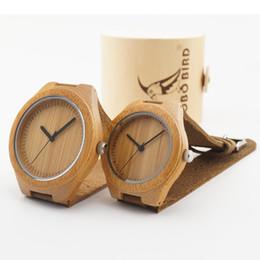 Uccelli d'ottone online-Abito di legno orologi fatti a mano in legno naturale BOBO BIRD Giappone Movimento al quarzo da polso Lovers' fresco con fasce di cuoio reale