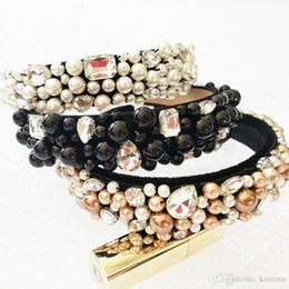 Perles à la mode strass palais rétro baroque coiffe couronne luxe velours bande de cheveux carte mariage accessoire ? partir de fabricateur