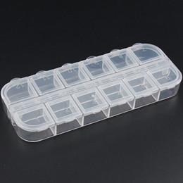 nagel pailletten Rabatt Nail art Aufbewahrungsbox 12 Grids Compartment Kunststoff Pailletten Organizer Schmuck Mini Diamant Leere Kästen Neue Ankunft 2 8px XB