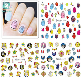 Harajuku nagel online-DLS361-402 Mode Nägel Wasser Folien Nail art Aufkleber Mode Nägel Cartoon Harajuku Sailor Moon Decals Minx Nagel Dekorationen
