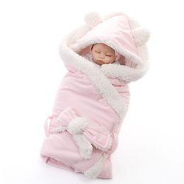 cobertor de swaddle simples Desconto Inverno Meninos Meninos Meninas Cobertor Envoltório de Camada Dupla do Velo Do Bebê Swaddle Saco de Dormir Para Recém-nascidos Cobertor de Cama Do Bebê