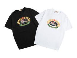 La camisa del patrón del gato online-2019 Camiseta para hombre Diseñador Camisetas Camiseta de lujo Hombres Mujeres Camiseta casual Cuello redondo de moda Patrón de gato Bordado Mezcla de algodón Manga corta
