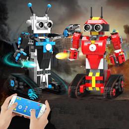 Bloques de robot online-Dos ciencia y la programación se derivan de educación bloques de construcción inteligentes populares juguetes conjunto de control remoto robot de los niños