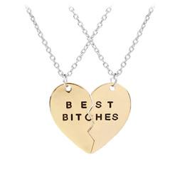 partes del corazón rotas Rebajas 2 partes Broken Heart Best Bitches Necklace Silver Gold Heart Joining Necklace Pendant Designer Necklace Fashion Jewelry Envío de la gota