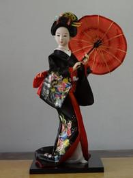 Miniatura argilla online-30 cm Statuetta In Resina Etnica Giapponese Geisha Bambole Kimono Bambole Belle Ragazza Collezione Lady Decorazione Della Casa Figurine In Miniatura Y19062704