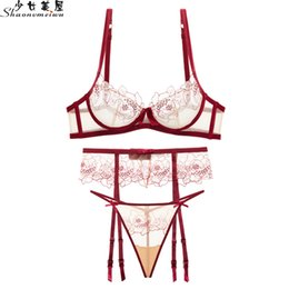 38d front closure bras Coupons - shaonvmeiwu Underwear g-string garter set female bra lace mesh embroidery sexy transparent ultra-thin bra