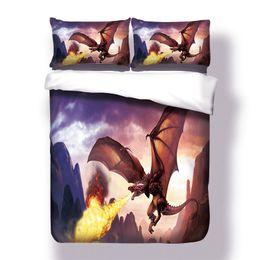 tessuto di stampa drago Sconti Set di biancheria da letto Dragon con stampa 3D Twin Full Queen Size per bambini Ragazzi Biancheria da letto per la casa Set di copriletto trapuntato in tessuto microfibra
