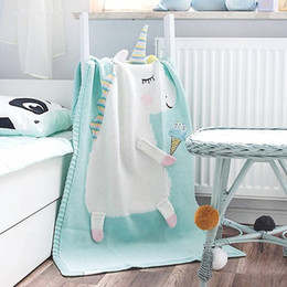 Couverture de bébé à tricoter en Ligne-Animal De Bande Dessinée Animal Couvertures Mignon Nouveau-Né Embrassez Wrap Canapé-Lit Avion Doux Tricoté Laine Couverture De Fil Cadeaux TTA853