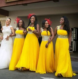 6a0086db6a Stunning Yellow Bridesmaids Dresses Chiffon Long For African Women Plus  size Crystal Beaded Prom Evening Dress Wholesale