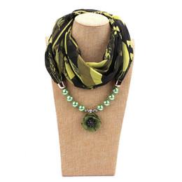 chiffon hijab schals Rabatt 2019 perle Blume Dekorative Schmuck Halskette Anhänger Chiffon Schal Frauen Foulard Femme Zubehör Hijab Drop Shipping