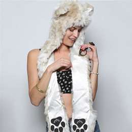 Beanie lobo on-line-Multifuncional Scarf Mulheres do gato lobo animal Inverno Gorros os ouvidos chapéu com Mittens Luvas fuzzy Fluffy Plush Beanie # 40