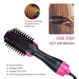 щетка сохнет, выпрямляет волосы Скидка 3 В 1 Шаг Фен и Volumizer щетка для выпрямления Curling Iron Comb Electric Щетка для волос Массаж Comb