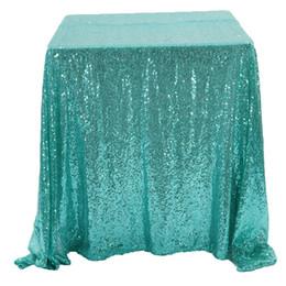 tisch-overlays für hochzeiten Rabatt Hochwertige Glitter Sparkly Tiffany Blau Pailletten Tischdecke Für Veranstaltungen Party Kopf Tischdekoration Shiny Pailletten Tischtuch