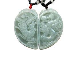 Natürlicher jadeit anhänger online-Feine Schmucksachen reine natürliche Jadeit-Jadedrache-Phoenix-Liebes-Paar-Amulett-hängende Halskette Freies Verschiffen
