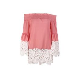 1284bc89e5ab6 Women Girls Summer Sweet Off Shoulder Off Collar Long Sleeve Lace Stitching  Loose Chiffon Shirt Female Tops
