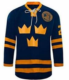 трикотаж номер 21 Скидка # 21 Peter Forsberg Jersey Team ШВЕЦИЯ Хоккейная майка Сшитая вышитая синяя одежда