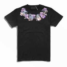 Camisas de designer roxo homens on-line-Luxo Mens Designer T Shirt Dos Homens Casuais Mangas Curtas Colar de Cabeça de Cão Flores Roxas Impressão de Alta Qualidade Das Mulheres Dos Homens de Hip Hop Tees