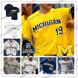 Navy jack online-Michigan Wolverines Personalizado Cualquier Nombre Número 2019 CWS Parche 2 Jack Blomgren 3 Millas Lewis Blanco Azul marino Gris Amarillo cosido Jersey de béisbol NCAA