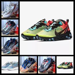 ленточные часы Скидка [С спортивными часами]Designer shoes men women Nike AIR MAX синий Chill React Element 87 Volt 55 mens For Women men Game Royal проклеенные швы 55s тренер 87s  спортивные кроссовки