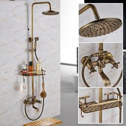 Set de ducha antiguo online-Bien Promoción de lujo montado en la pared de latón antiguo 8 '' conjunto de ducha de baño de lluvia grifo con estante de productos de doble manija mezclador de ducha