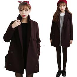 сладкие элегантные пальто Скидка Повседневной Женщина шерстяного пальто Женщина Твердые Сладких куртки Женщина Длинные Карманы корейские женщины типа воротник отложной Студенты Elegant