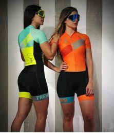 Camiseta de ciclismo rosa equipo femenino online-2019 Pro Team Triatlón Traje de ciclismo de la mujer traje de mono traje de Maillot Ciclismo Ropa ciclismo set pink gel pad 012